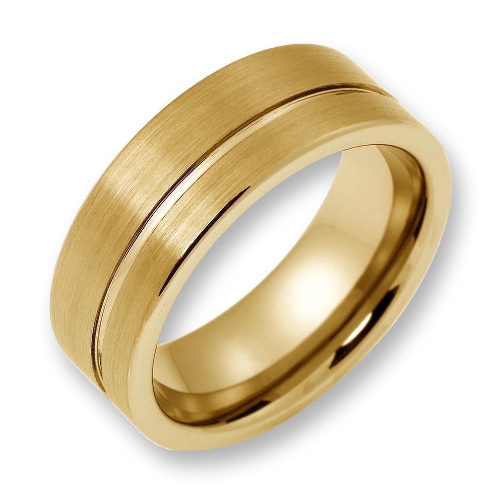 herren ring aus wolfram tungsten ohne stein gold. Black Bedroom Furniture Sets. Home Design Ideas
