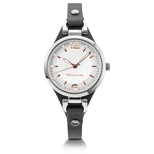 d74454c2906859 Tamaris Damen Uhr Armbanduhr aus Leder grau Virginia B02017010