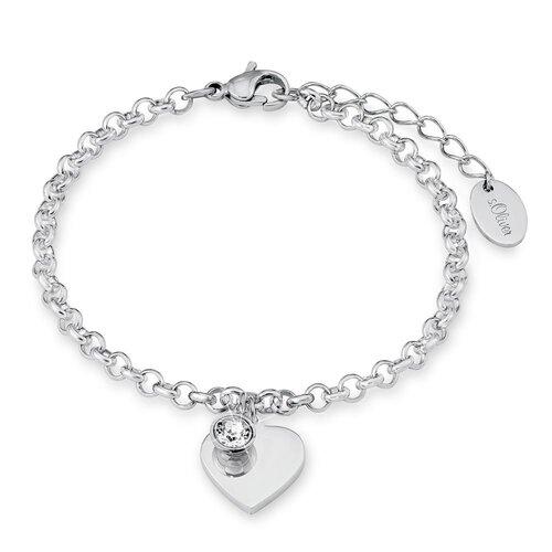 Oliver Schmuck Damen Armband aus Edelstahl silber mit Zirkonia Herz 9023998  ... 0ab125ab7c