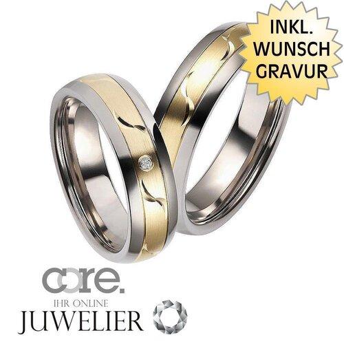 CORE by Schumann Design Trauringe Eheringe aus Titan/585 Gold Gelbgol