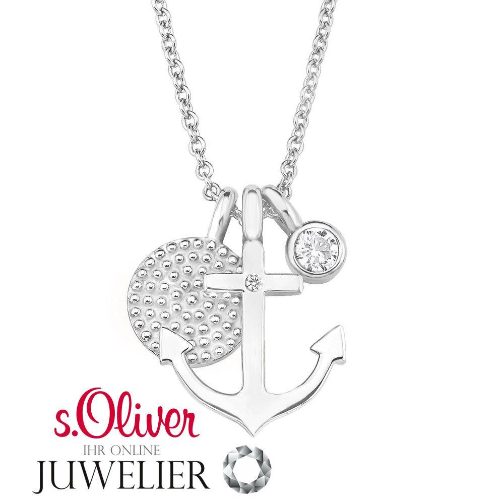 s oliver jewels damen halsschmuck kette aus 925 silber mit zirkonia. Black Bedroom Furniture Sets. Home Design Ideas