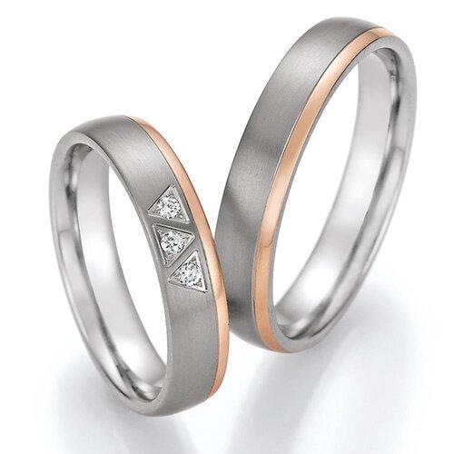 aa09301279 CORE by Schumann Design Trauringe Eheringe aus 585 Gold ( 14 Karat )  Rotgold/Titan mit echten Diamanten GRATIS Testringservice & Gravur 20003721
