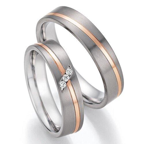 379a3a09b2 CORE by Schumann Design Trauringe Eheringe aus 585 Gold ( 14 Karat )  Rotgold/Titan mit echten Diamanten GRATIS Testringservice & Gravur 20003723