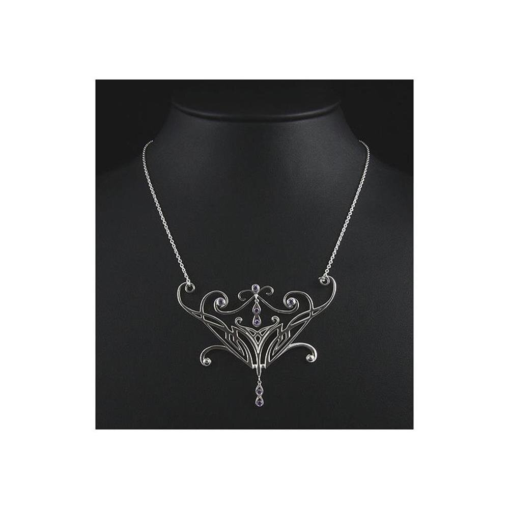 Herr der Ringe//Hobbit Schmuck Elbencollier aus 925 Silber Nenya Filigran medium