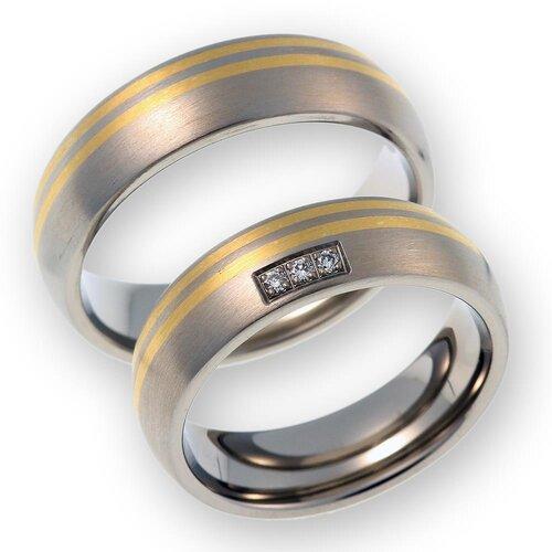 Trauringe Eheringe aus Titan/585 Gold mit echt Diamant inkl.Gravur ...