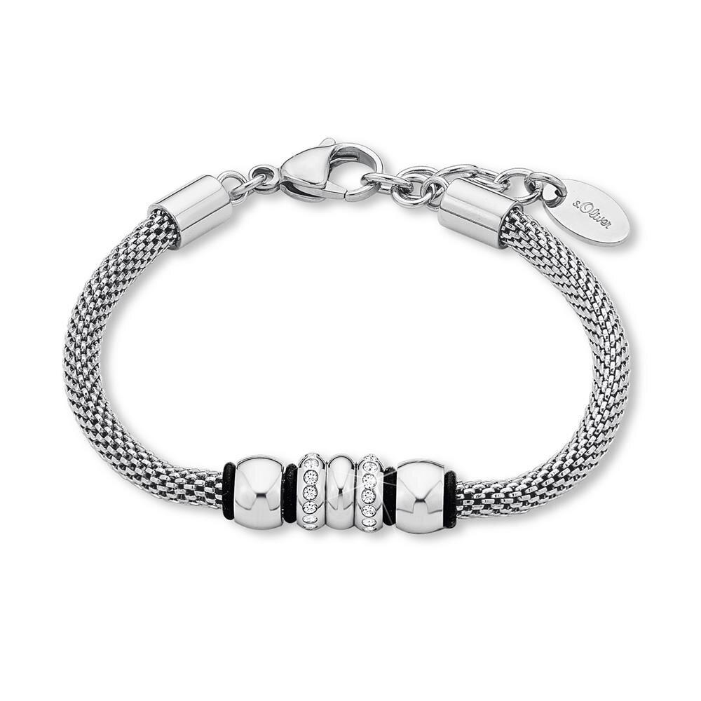 s oliver schmuck damen armband aus edelstahl silber mit zirkonia mode. Black Bedroom Furniture Sets. Home Design Ideas