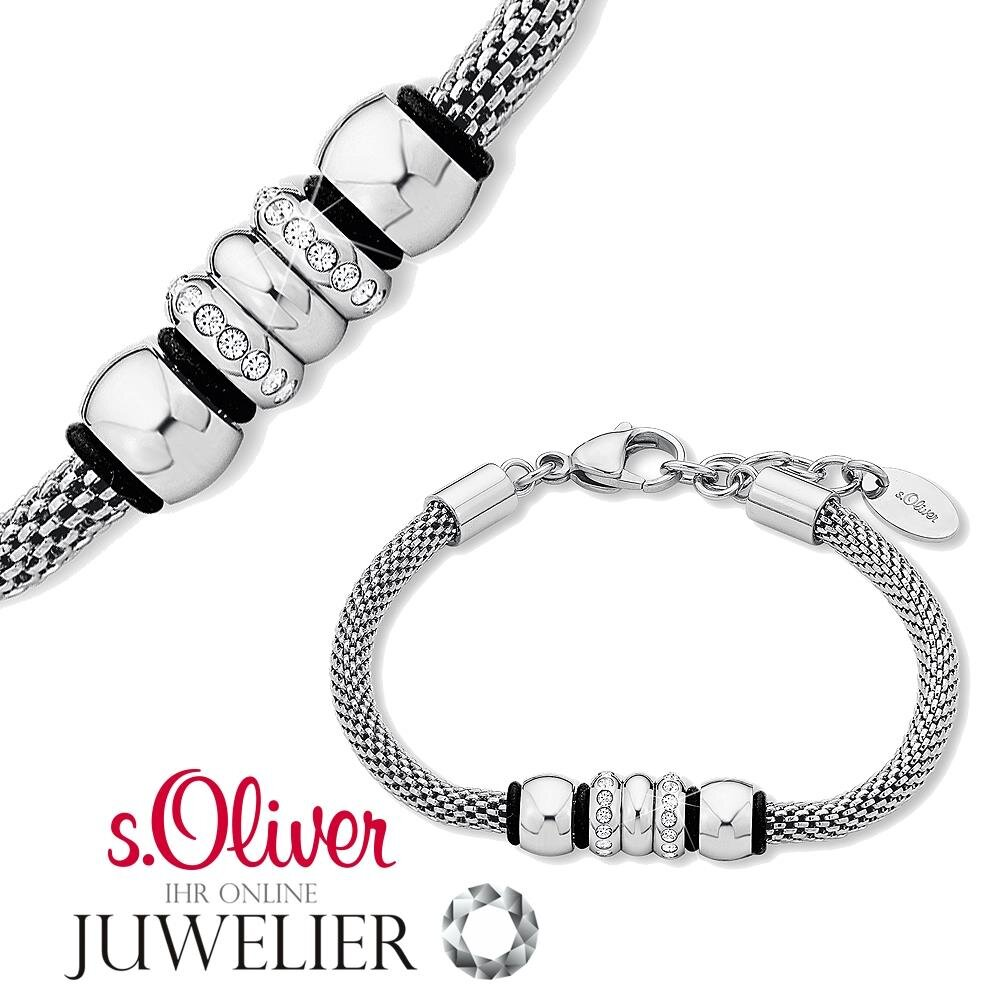 s oliver jewels damen armband aus edelstahl silber mit zirkonia 92401. Black Bedroom Furniture Sets. Home Design Ideas